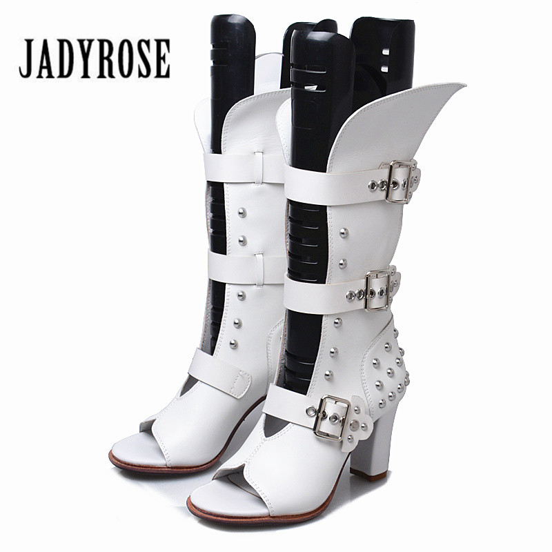 Jady Rose 2019 New Women Sandals Buckle Straps Female Summer Boots Rivet Studded Genuine Leather High Heel Sandalias MujerJady Rose 2019 New Women Sandals Buckle Straps Female Summer Boots Rivet Studded Genuine Leather High Heel Sandalias Mujer