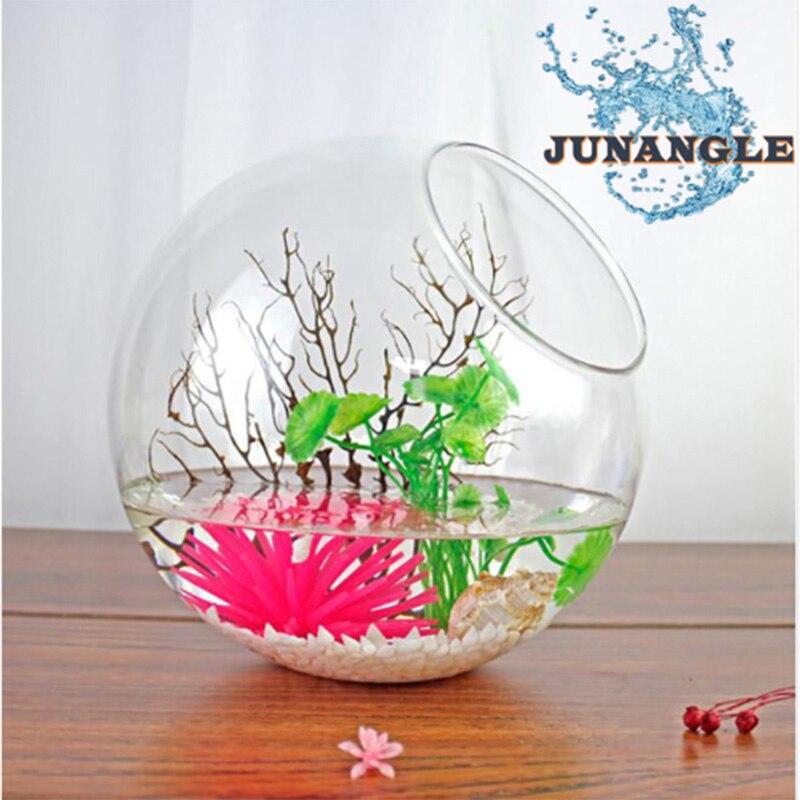 HU Mini Aquarium Glass Mini Fish Tank Decoration Fish Bowl Flower Hydroponic Vase Fishbowl Home Aquarium Accessories Ornaments