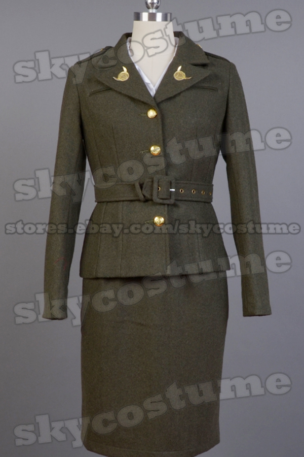 Captain America Costume The First Avenger Agent Peggy Carter Suit Cosplay Costume Version Green Full Sets