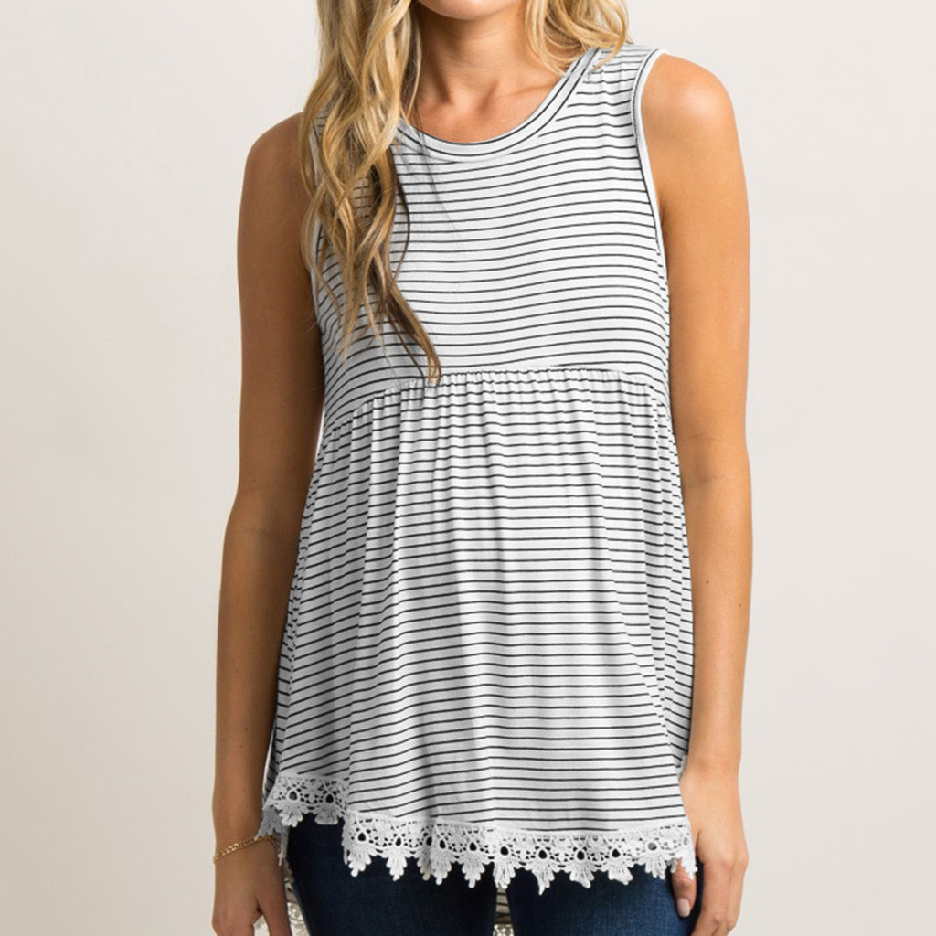 Women Maternity Tops Sleeveless Stripe Nursing Tank Mom Breastfeeding Vest Tops