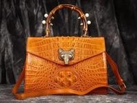 100% Real/Genuine Crocodile Skin Women shouder Handbag leather strap, Crocoidle skin cross body bag bamboo handle fox lock metal