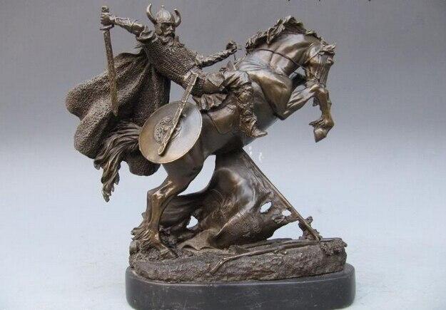 11 pouces grèce athènes Art Bronze et marbre guerrier tour sur cheval de guerre Statue cheval artisanat Art Sculpture pur Bronze et marbre