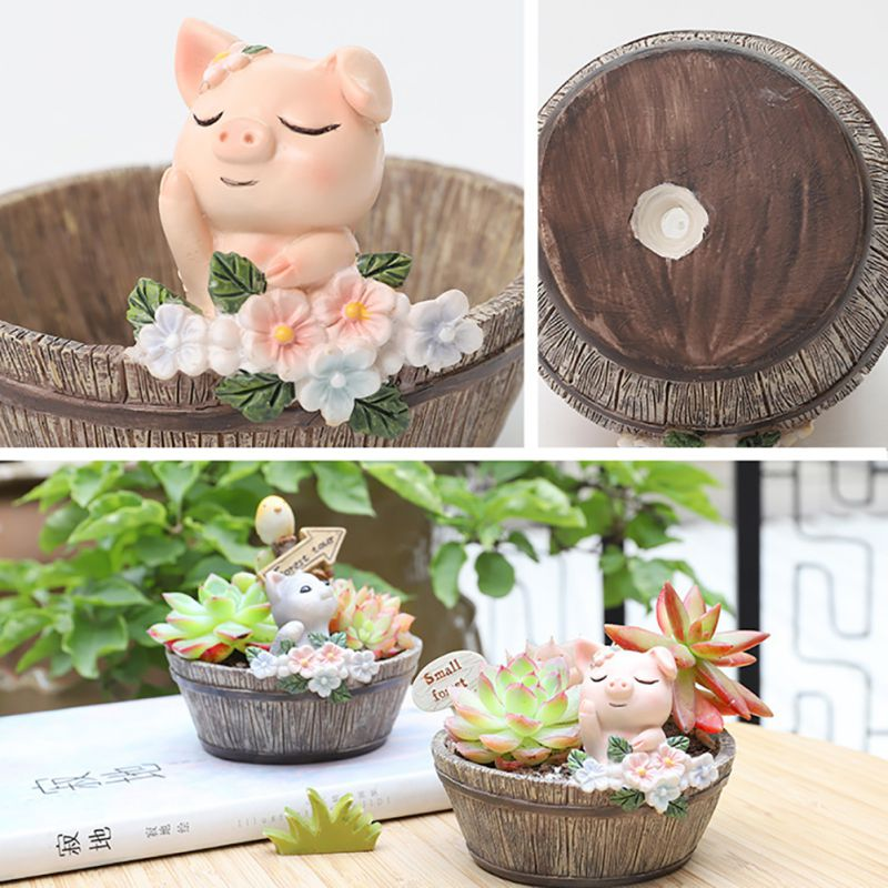 Cute Animal  Mini Flower Pot Meaty American Country Style Succulent Pots Decoration Resin горшок для цветов