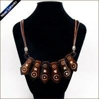 Vintage Tribal Biżuteria Naturalne Yak Bone Carving Totem Leather Rope Chain Choker Chunky Komunikat Bib Naszyjnik Dla Kobiet Mężczyzn NG04