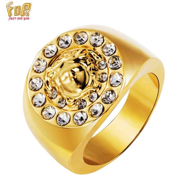 JFY 18 K Gold Plated Hip Hop MEN Ring Unisex Bling Bling Famous Brand Gold Rings For Men Women Punk Rap Finger Cool Rock JEWELRY