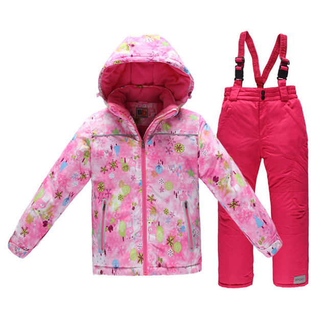 9b373437ad3c Winter Children Skiing Suit 2pcs Set Russia Baby Girl Ski Jacket ...