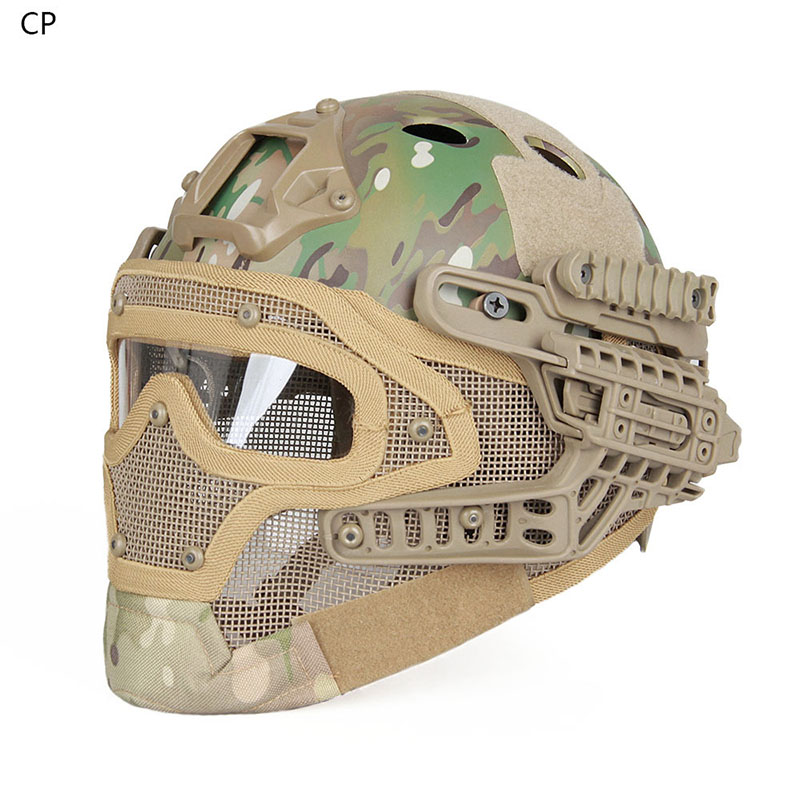 Tactical Helmet Military Mask With Goggles For Airsoft Army Paintball WarGame Outdoor Sport Motorcycle Cycling Hunting Gz90077