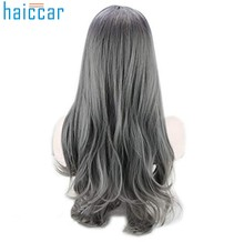 2019 New Gray Long curly human hair wig Fashion Girl Cosplay Sexy Gradient Gray Party Wigs Hair Mixed Colors Synthetic WigDev28(China)