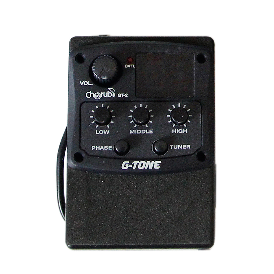 Cherub Guitar Preamp Piezo Pickup EQ Preamp System GT Series GT-2 3-Band EQ with Tuner and Phase guitar pick holder