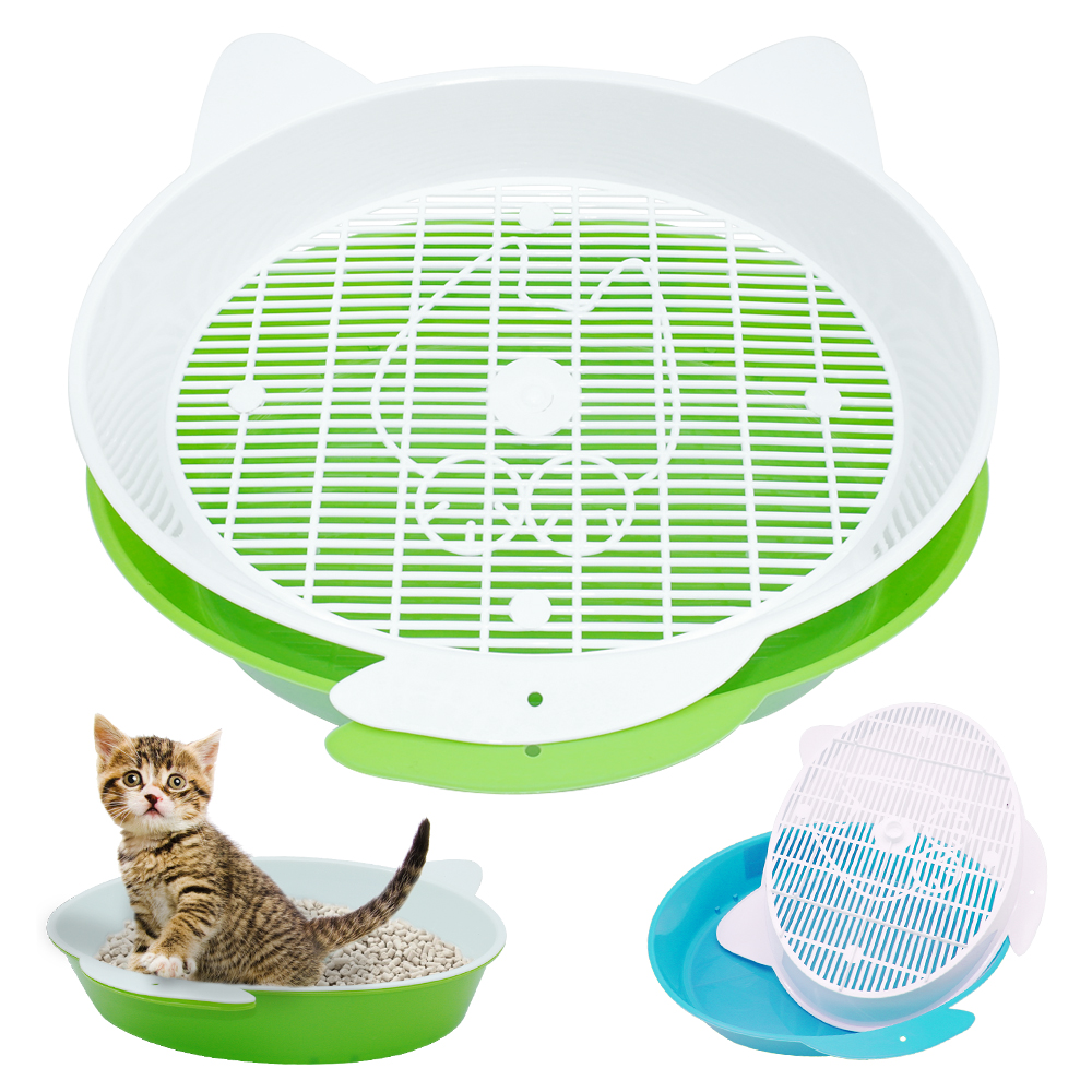 Pet Cat Rabbit Pee Toilet Round Enclosed Puppy Kitten Bedpans For Cats Small Animal Hamster Litter Training Tray Plastic