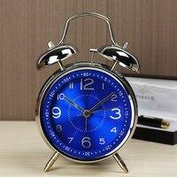 KTL 4นิ้วอัลตร้า-Stilleนาฬิกาปลุกคลาสสิกย้อนยุคคู่เบลล์โต๊ะนาฬิกาปลุกตารางสีฟ้า/สีดำdrop Shipping