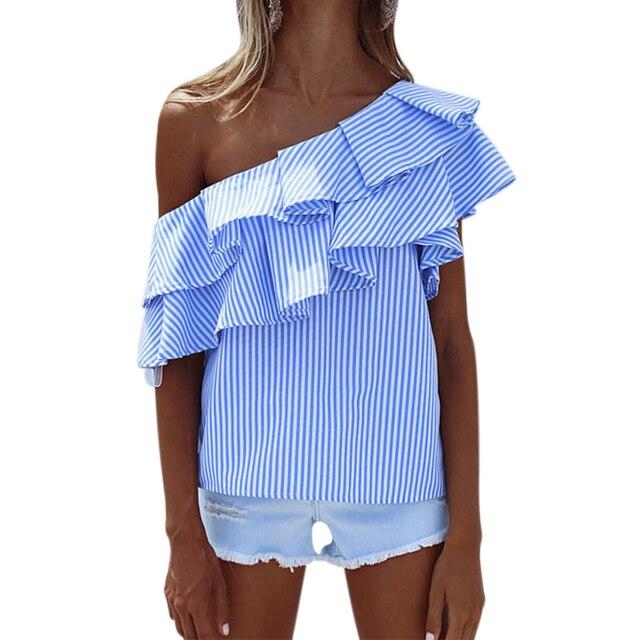 3a3e8eea48eade9 2018 летние блузки женские топы Открытое плечо блузки рубашка с рюшами  полосатая рубашка Слэш шеи Блузка
