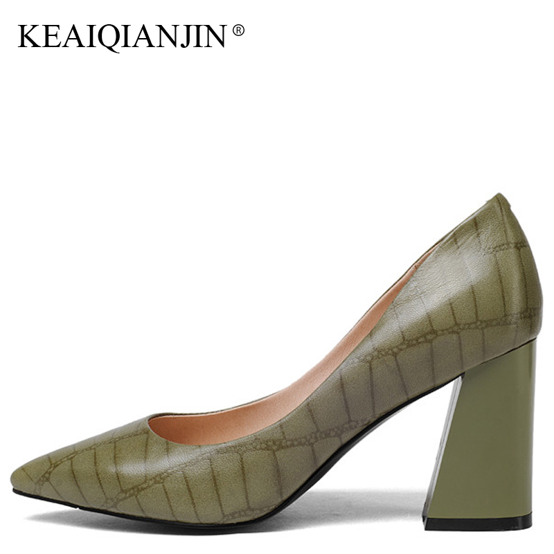 KEAIQIANJIN Woman Patent Leather Pumps Plus Size 33 - 43 High Shoes Spring Autumn Metal Decoration Black Genuine Leather Pumps keaiqianjin woman patent leather pumps plus size 33 43 high shoes spring autumn metal decoration black genuine leather pumps