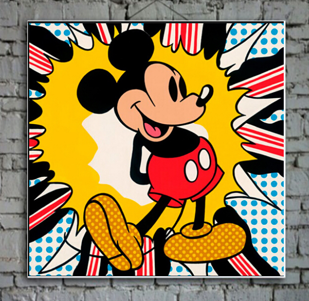 Abstract Oil Painting Pop Art Paint On Canvas Mickey Mouse Wall Picture Home Decorative