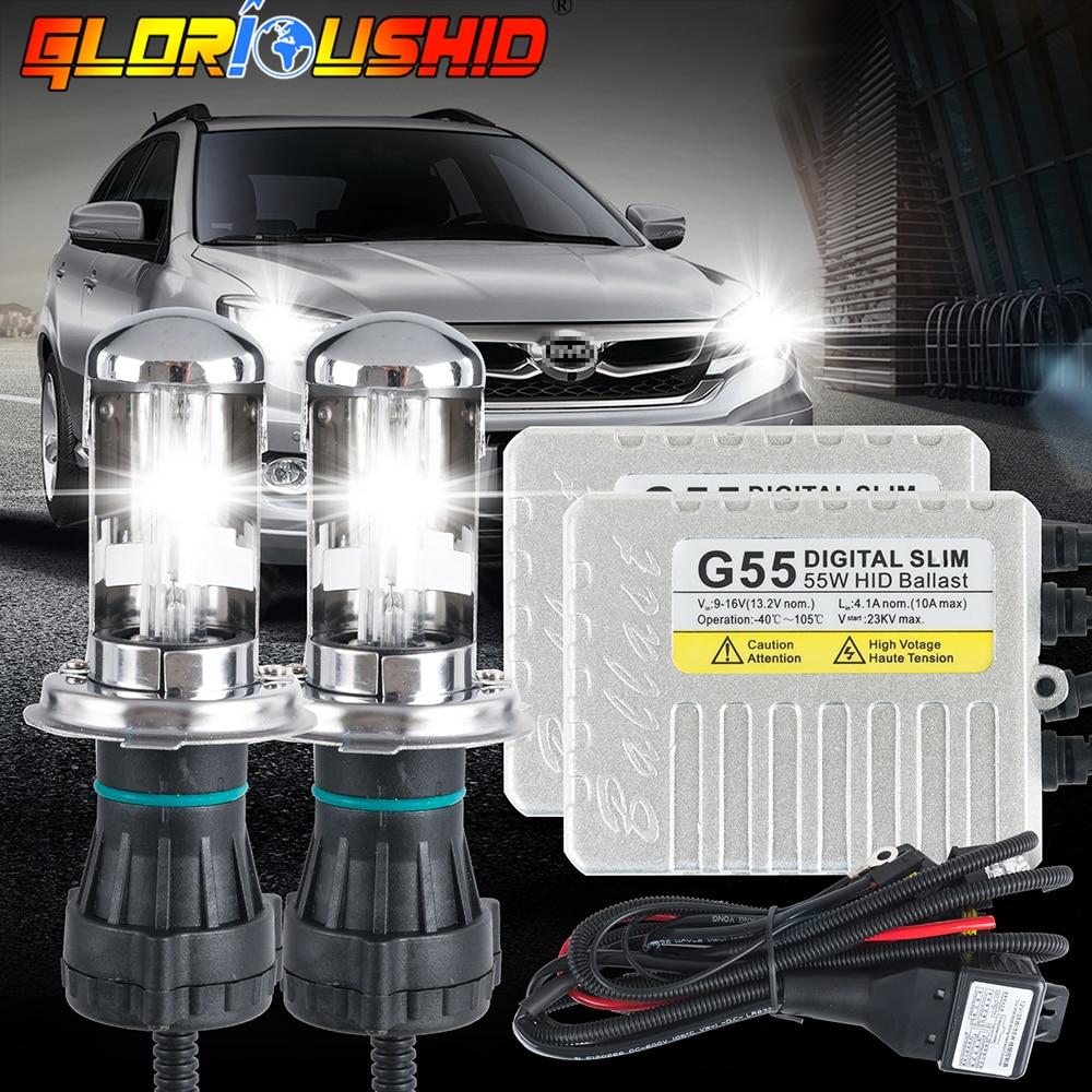 One set H4 xenon kit G55 55w H4 hi/lo beam Slim HID ballast xenon kit 4300K 5000K 6000K 8000K bulb  for car headlight
