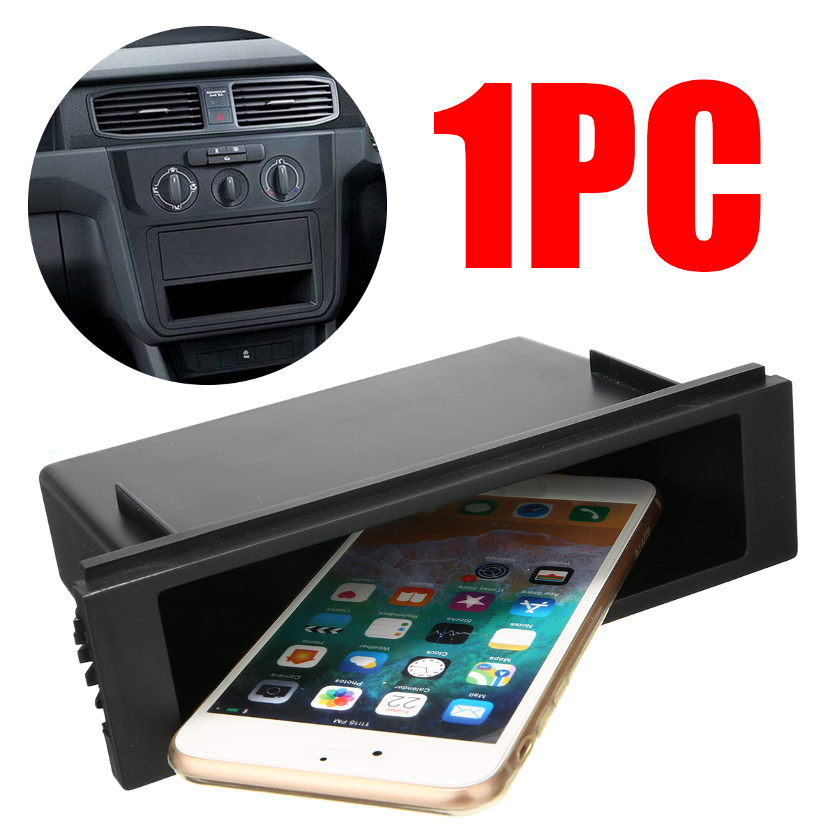Universal Single 1 Din Car Vehicle Radio Compartment Installation Storage Box Pocket Dash DIY Kit Accessories 18.9x10.7x5.3cm image
