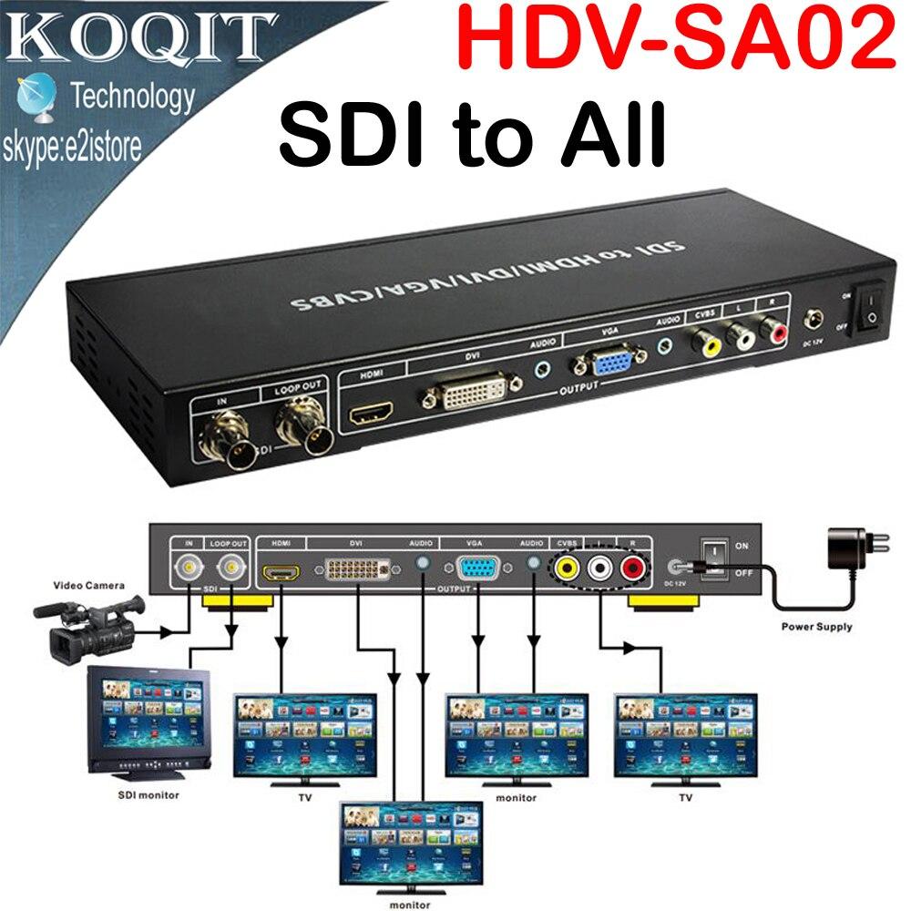 HDV-SA02 SDI à tous les convertisseur de détartreur SD HD 3G-SDI avec boucle SDI vers HDMI DVI VGA CVBS convertisseur analogique séparateur Extender