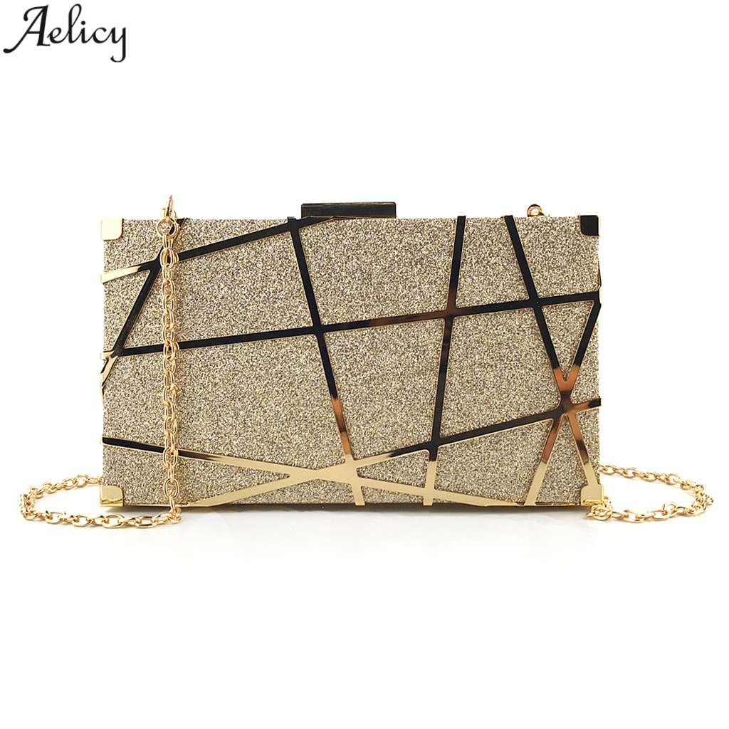 Aelicy Bolsas Glitter-Bag Chain-Shoulder-Bag Evening-Bag Wedding-Clutches Minaudiere