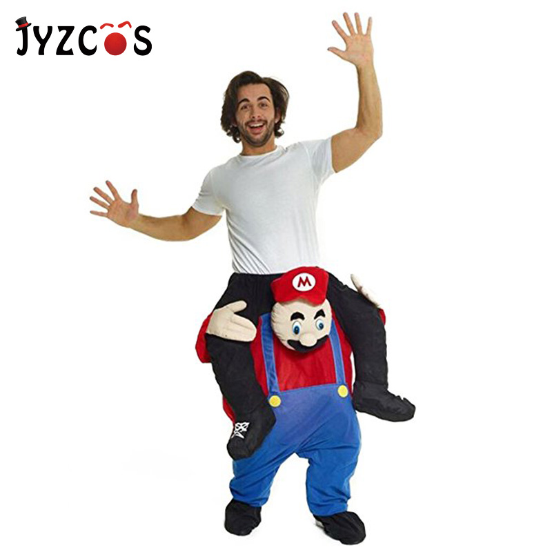 JYZCOS Adult Ride On Mario Costume Ride on Me Funny Pants Carry Back Novelty Toys for Purim Halloween Birthday Party Fancy Dress