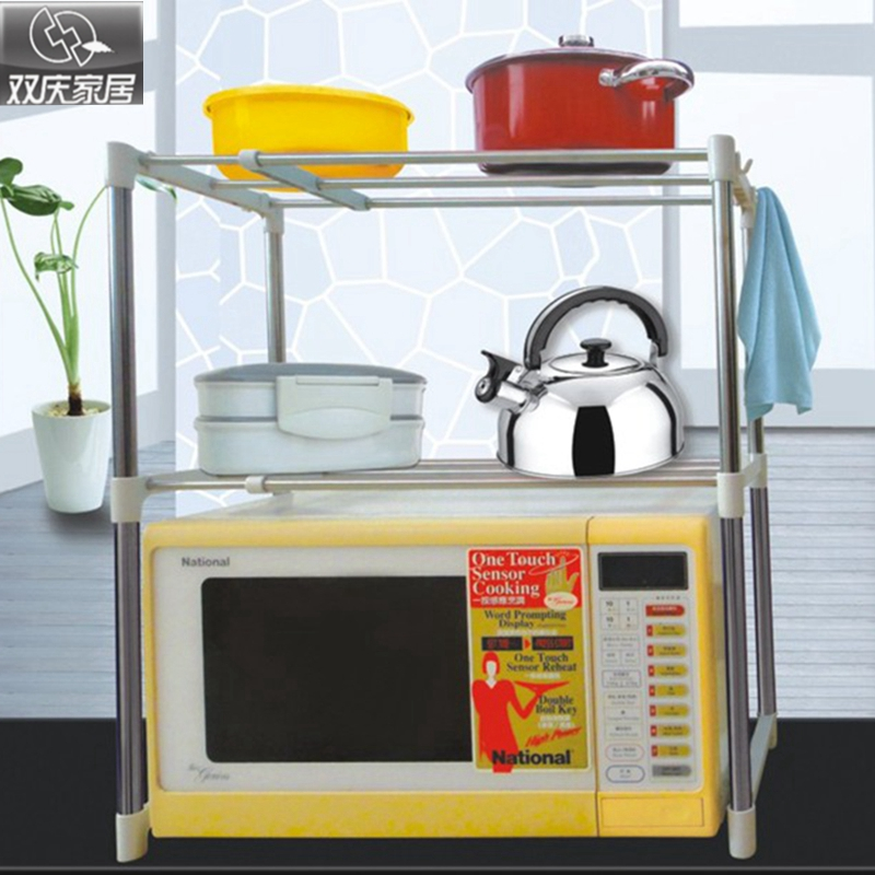 Víceúčelové police s dvojitou vrstvou vysoce kvalitní mikrovlnné trouby nebo trouby police kuchyně skladování a rozšíření koupelna organizátor