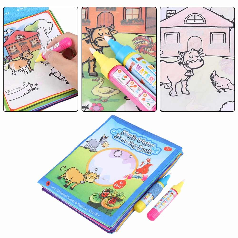 Water Coloring Books For Kids Drawing Books With 2 Magic Water Drawing Pen Doodle Mat Learning Educational Toy For Children Gift