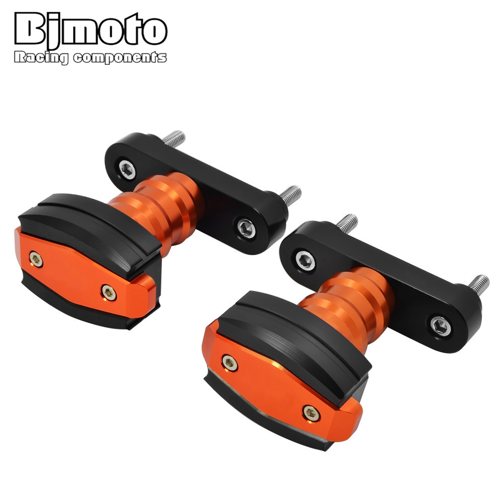 BJMOTO New CNC Aluminum Motorcycle Falling Protection Left and Right Frame Sliders Protector For KTM DUKE 125 200 390 2013 -2018 for ktm duke 125 200 390 2013 2016 motorcycle cnc windshield windscreen upper headlight top mount cover panel fairing screen