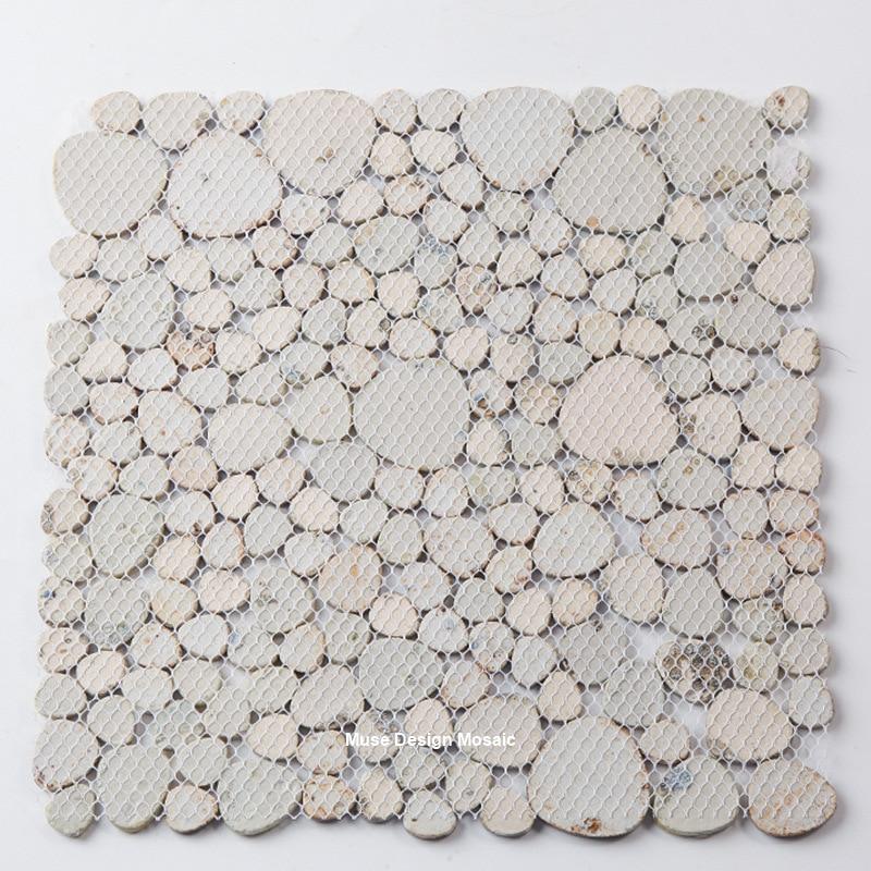 Home Improvement Navy Blue Beige Pebbles Fambe Glazed Ceramic Mosaic Tile For Bath Floor Swimming Pool Decor Wall Sticker Floor Tile Wallpapers