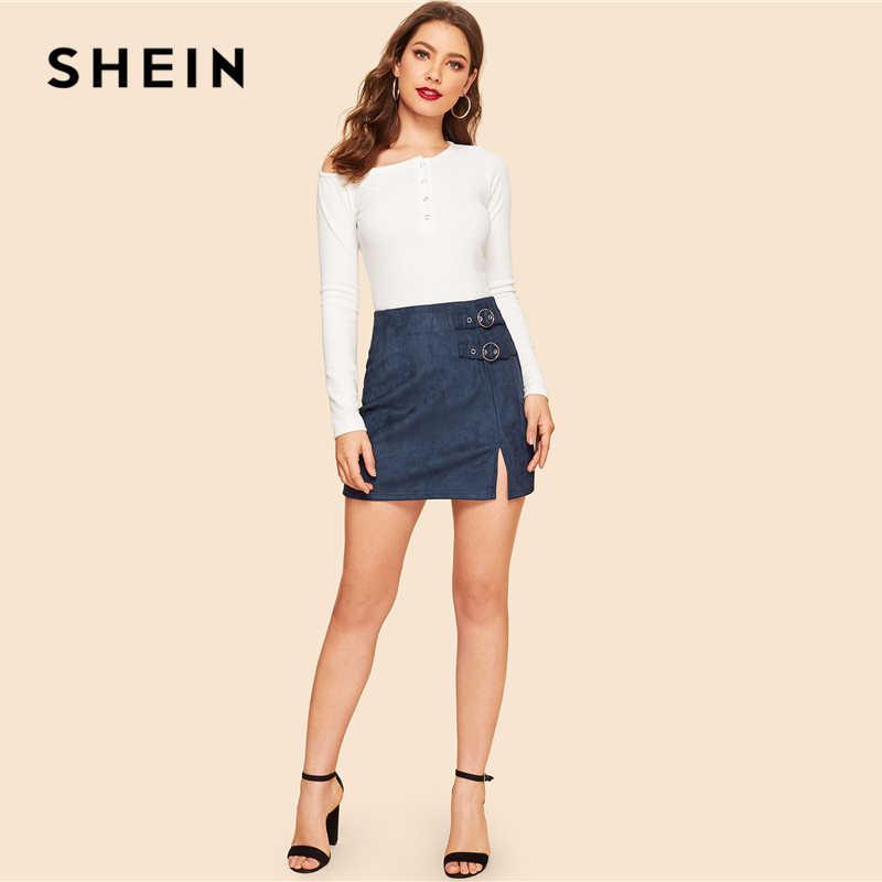 2b43f80f3 ... SHEIN Navy Buckle Strap Detail Zipper Back Split Suede Pencil Skirt  Women Summer Elegant Workwear Casual