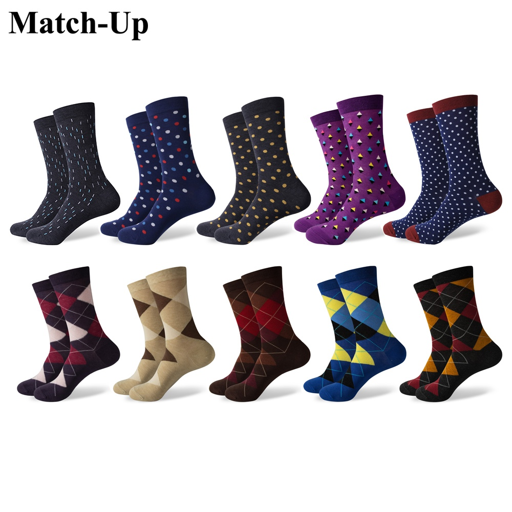 Match-Up Men's Combed Cotton Crew   Socks   Funny Dress   Socks   Business color dots classic (10 Pairs/lot)