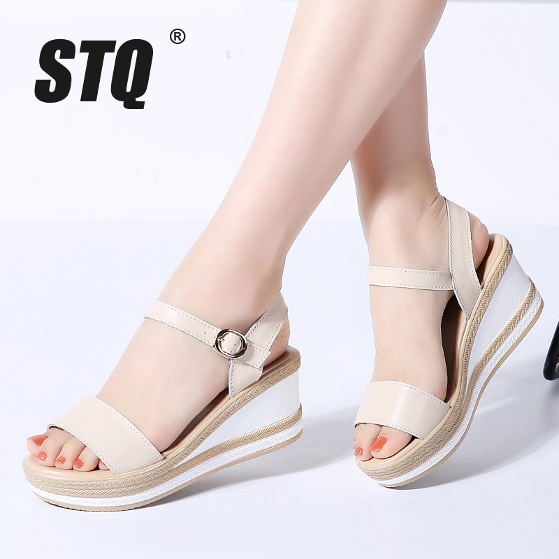 STQ Platform Sandals Women Wedge High-Heel Flat Flip-Flops Beach Ladies 87333