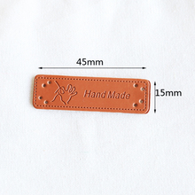 12PCS/Pack Hand Made Garment PU Labels Bag Leather Tags For DIY Sewing Accessories Hats Jeans Shoes On Clothes English alphabet