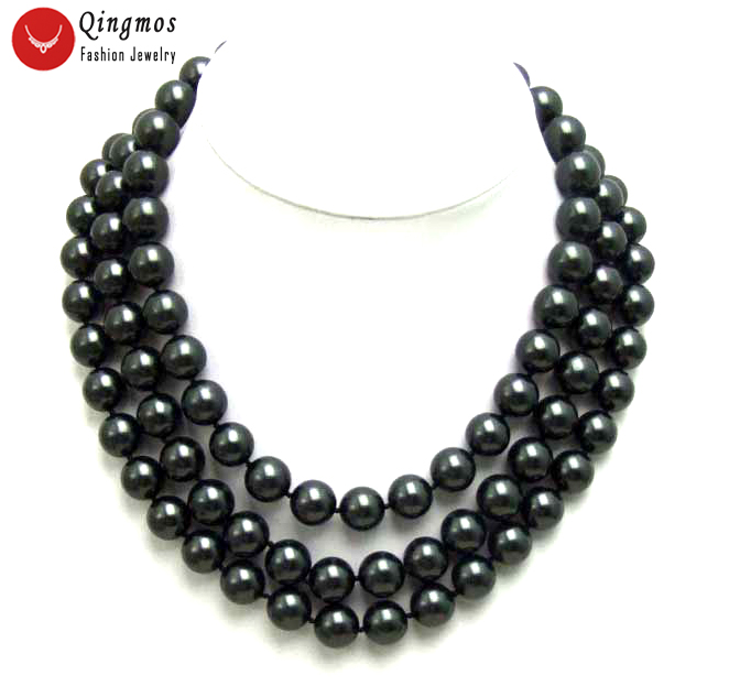 Qingmos Black Sea Pearl Necklace for Women with 12MM Round Black Sea Shell Pearl Necklace 3 Strands Chokers Jewelry Nec5352