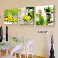 3 Pcs Set DIY 5D Diamond Embroidery Lemon Kitchen Painting Of Resin Diamond Needlework Full Square