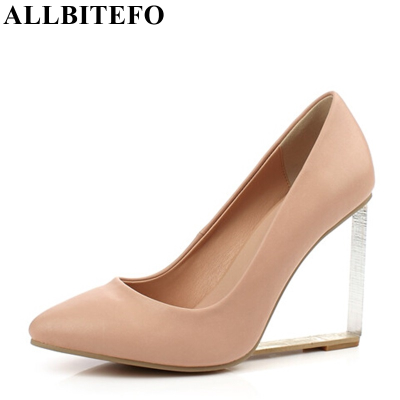 ALLBITEFO 8 colors Crystal wedges heels 100 genuine leather pointed toe flowers Grid high heels women