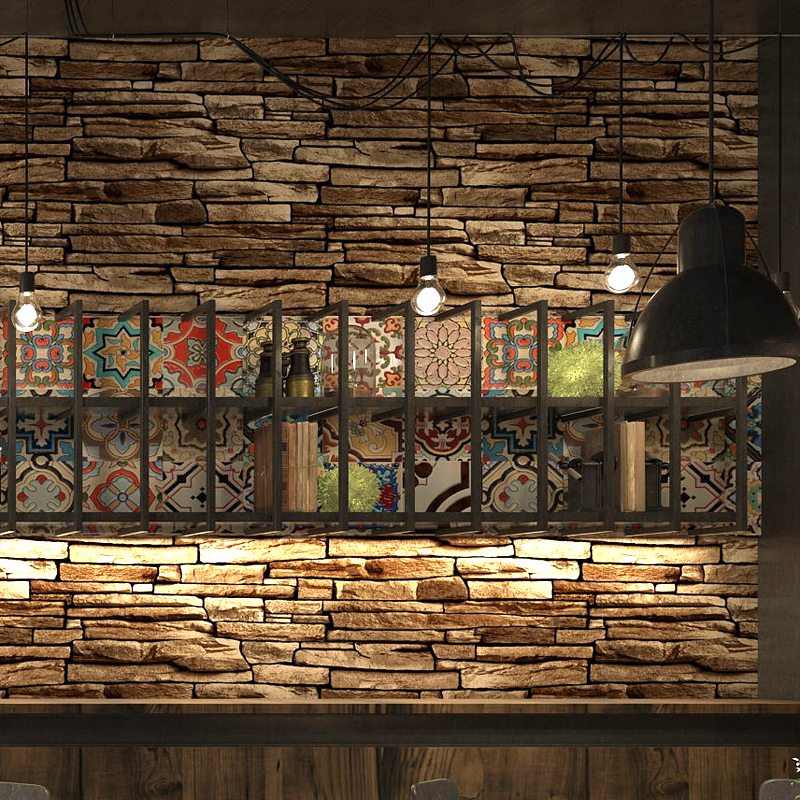 Vintage Rustic 3d Effect Stone Brick Wallpaper Roll For