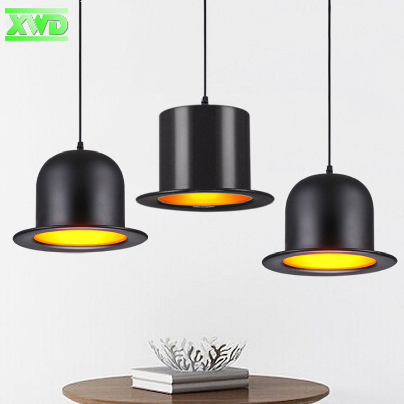 Modern Aluminum Black Hat Shape Parlor Pendant Lamp E27 Lamp Holder Dining Room/Coffee House Indoor Lighting Free Shipping DL50 modern restaurant yellow black white pendant lamp aluminum wood e27 lamp holder dining room coffee house indoor lights dy50