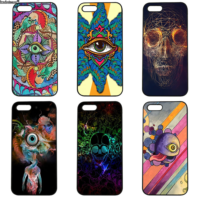 Hot Sale Psychedelic flowers Mobile Phone Cases Hard PC Cover for iphone 8 7 6 6S Plus X 5S 5C 5 SE 4 4S iPod Touch 4 5 6 Shell