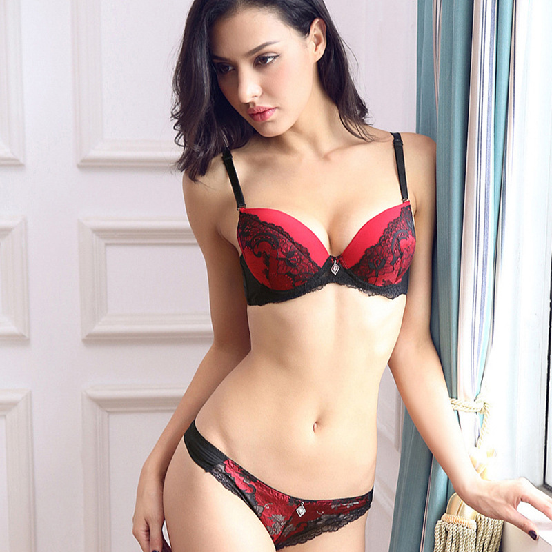 Thong   Bra     Set   75 80 85 95 A B C Push Up Lace Women Underwear Panty   Set     Set   Hollow Out G String Embroidered   Bra     Brief     Sets