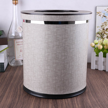 Round double-layer gray color trash bin metal+Pu leather trash basket kitchen trash cans desktop bin mini waste bin PLJT02