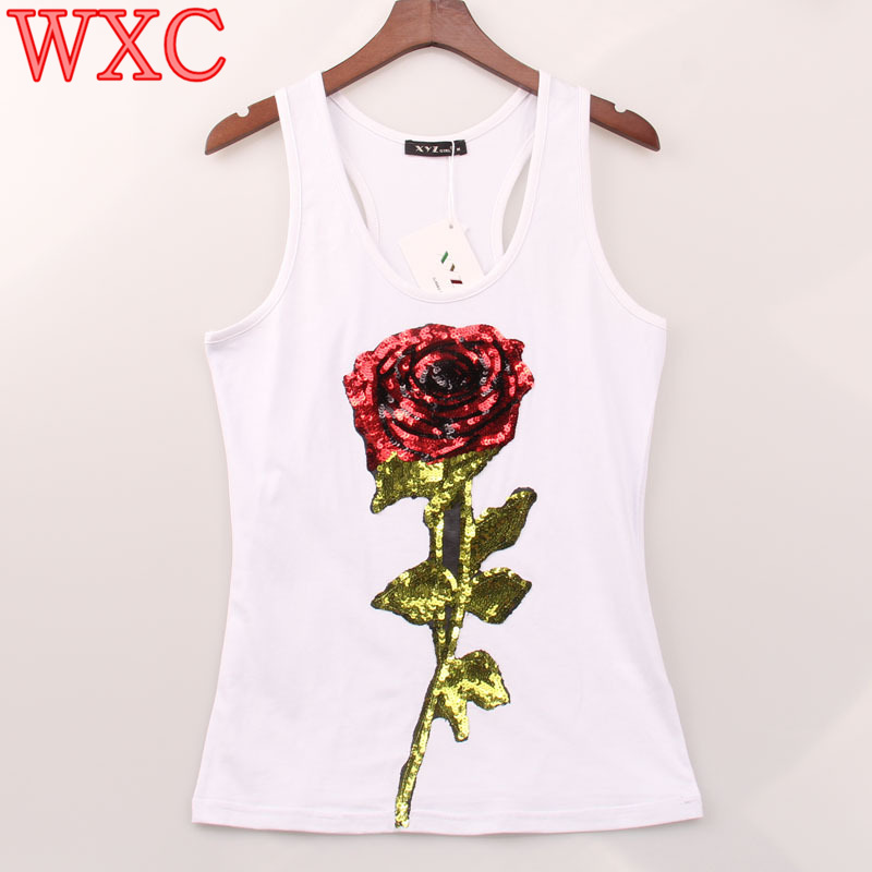 Summer Style Women Tank Tops Sequins Rose Sequined Sexy Vest Camisole Racer Back Tops Casual Sleeveless Female Club Shirt WXC