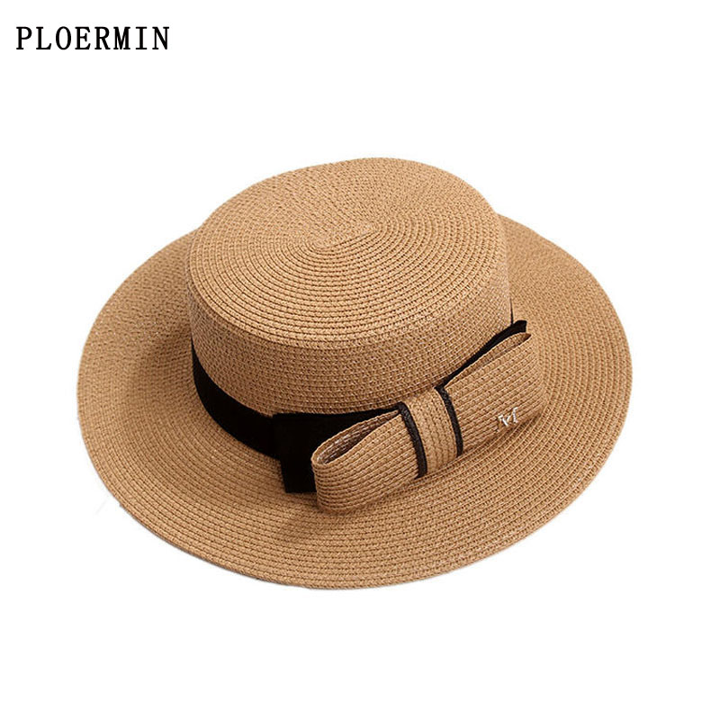 Summer Wide-brimmed Sun Hat Elegant Bow Flat Top Sunscreen Hat M Letter Fashion Straw Hat Female Summer Vacation Beach Big Visor