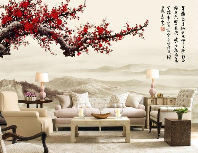 Tapeten wohnkultur, rot plum blossom chinese stil 3d wallpaper ...