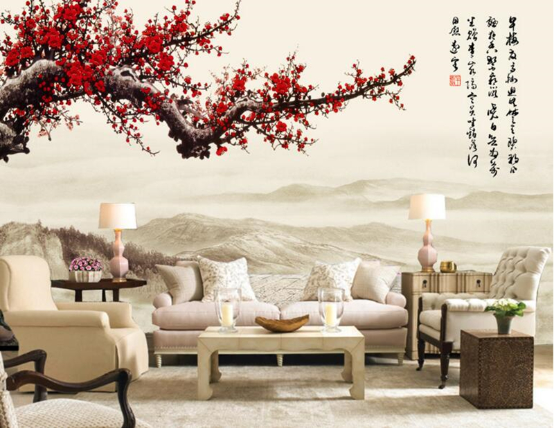 Wall papers home decor,Red Plum Blossom Chinese style 3d wallpaper,restaurant living room tv sofa wall bedroom mural wallpaper custom 3d wallpaper mural chinese style flower and bird wallpaper restaurant living room bedroom sofa tv wall papel de parede