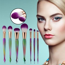 Vander Professional 7PCS Color Mermaid Make Up Eyebrow Eyeliner Blush Blending Contour Foundation Cosmetic Makeup Brushes Set