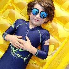 Vivo-biniya Фирменная Новинка Детский купальник пляж опрометчивого цельный рубашка защиты от солнца UPF50+ эластановый купальник для мальчиков детская одежда с длинными рукавами