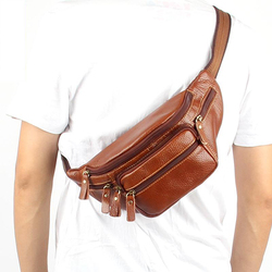 The man cuts cowhide man bag multi-pocket waist pack casual chest pack genuine leather small bag 2014