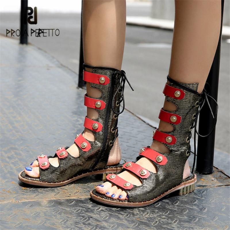 цены на Prova Perfetto Women Casual Flat Sandals Summer Boots Female Lace Up Gladiator Sandals Hollow Out Straps Flats Sandalias Mujer в интернет-магазинах