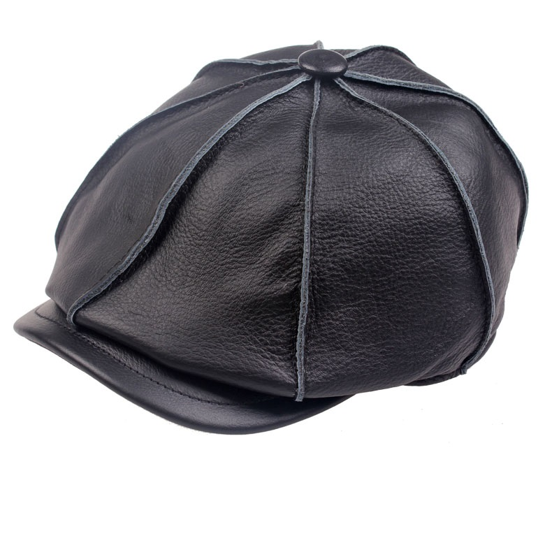 2014 new Boys casual genuine leather hat genuine leather cowhide male cap painter cap winter warm