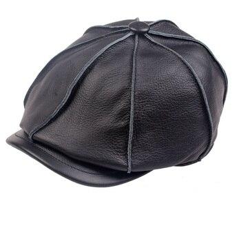 ¡Novedad de 2019! sombrero casual de cuero genuino para niños, gorra de cuero genuino para hombre, gorra de pintor, gorro cálido para invierno, 50% de descuento