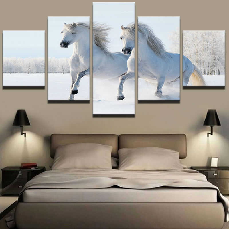 Fashion Canvas Painting Wall Art Prints Home Decor Snow Land Landscape Pictures 5 Panel Animal White Horse For Living Room Frame